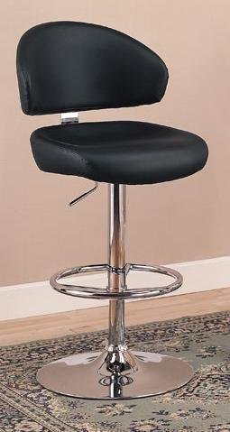 """29""""H Adjustable Bar Stool In Black Faux Leather"""