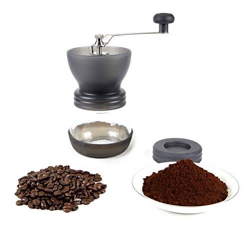 CoZroom Black Manual Coffee Grinder, Burr Espresso Coffee Grinder -Food Saftey Ceramic, Hand-crank Coffee Mill