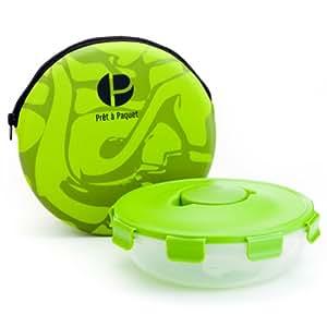 Prêt à Paquet S2004 Salatbox rund, Dressingbehälter, Hülle grün