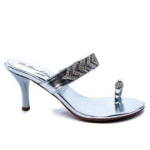 Wizz34 Silver Metallic Dress Flip Flop Toe Strap Jeweled Bling High Heel Shoe-10 front-502730