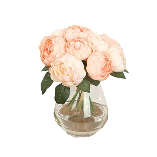 6 Heads Artificial Peony Bouquet, Oksale® Silk Plastic Fake Wedding Flower Leaf, Bridal In Vase Favor Home Decor for Party, Home,Bookstore,Cafe Store (Pink)