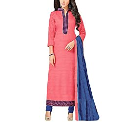 Applecreation Pink Dress Material With Heavy Embroidered Matching Dupatta for Women's