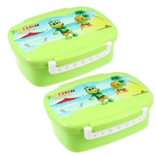 Cartoon Printed Food Container Holder Lunch Box Case 2 Pcs Green ocardian brand thermal insulated lunch box cooler bag tote bento pouch lunch container 4 color 03 0908