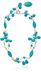 """24"""" Simulated Turquoise & White Cultured Freshwater Pearl Necklace"""