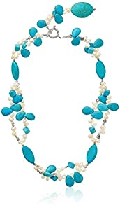 "24"" Turquoise Color & White Cultured Freshwater Cultured Pearl Necklace with Toggle Hook"