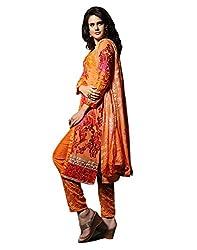 Lookslady Embroidered Orange Georgette Semi Stitched Salwar Suit