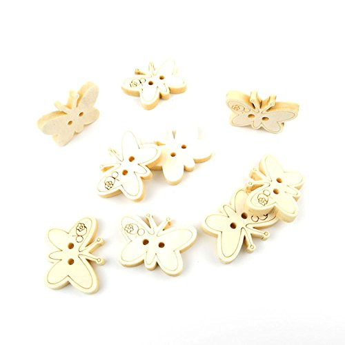 130 Pieces Sewing Clothing Buttons Sew On Wooden Wood Knopfe BB2102 Butterfly Natural Color Boutons Fasteners Notions Multi Pattern Cartoon Supplies Arts Crafts Accessories