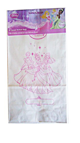 Licensed Disney Color Your Own Square Bottom Treat Bags Lunch Bags (20 Ct) (Princess)
