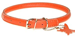 Dogline Rolled Leather Dog Collar, Extra Small, 11-inch/ 28 cm, Orange