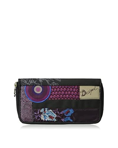 Desigual Women's Patchs Medium Wallet, Dark Grey