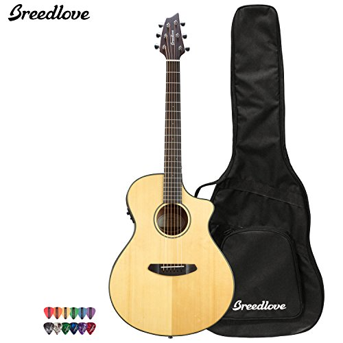 Breedlove Discovery Concert Ce Acoustic Electric Guitar With Chromacast 12 Pick Sampler And Breedlove Gig Bag