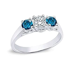 14k White Gold Round 3-Stone Diamond Engagement Ring (1/2 cttw, H-I, Blue, I1-I2)