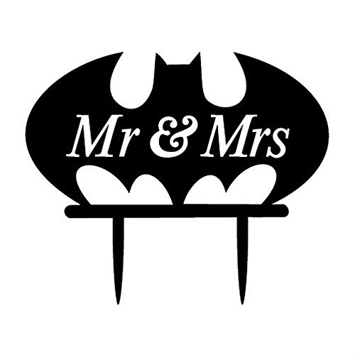 Ecape Custom Mr and Mrs Wedding Cake Topper Birthday Cake Topper for Special Events (Bat)