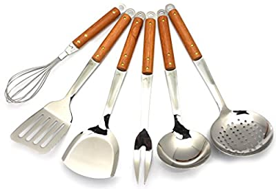 Cookware Stainless Steel Cooking Tools Gift Set of 6 With Wooden Handle For Home Professionals To Stir Fry Serve-Suitable For Pans Wok Pots Trays Grill Large Heat Resistant Non Stick Kitchen Utensils