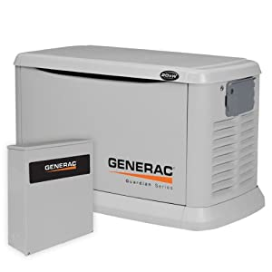 Generac 6244 20,000 Watt Air-Cooled Aluminum Enclosure Liquid Propane/Natural Gas Powered Standby Generator (CARB Compliant) with 200SE Transfer Switch
