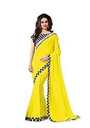 Morpankh enterprise Yellow Faux Georgette Saree ( 117 look chokdi yellow )