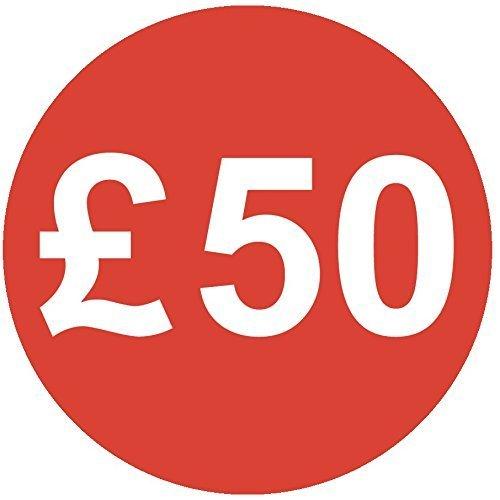 Audioprint Lot. 10000Lot de Prix £50autocollants 30mm rouge