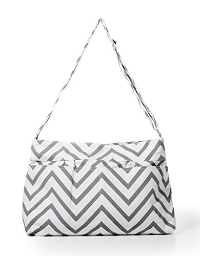 Gray Chevron Tote Diaper Bag By White Elm - 1