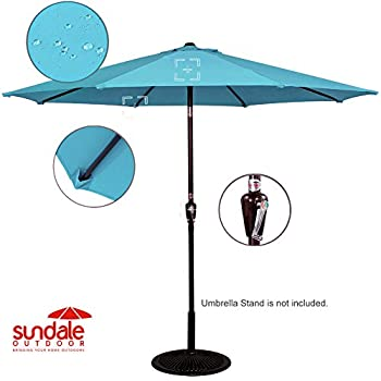 Sundale Outdoor 10 Feet Outdoor Aluminum Patio Umbrella with Auto Tilt and Crank, 8 Alu. Ribs, 100% Polyester (Turquoise)