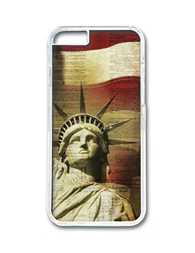 Leslie Durrance Statue Of Liberty American Flag Pc Transparent Case / Cover For Apple Iphone 6 4.7 Inch front-139558