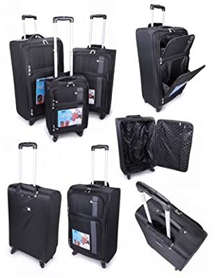 A 3-PIECE, SUPER LIGHTWEIGHT, FULLY-LINED, BLACK/GREY LUGGAGE CASE SET c/w INTERNAL TROLLEY FRAME, TELESCOPIC HANDLES, 4 SPINNER WHEELS & SECURE BASE STUDS. by COMPASS BAGS