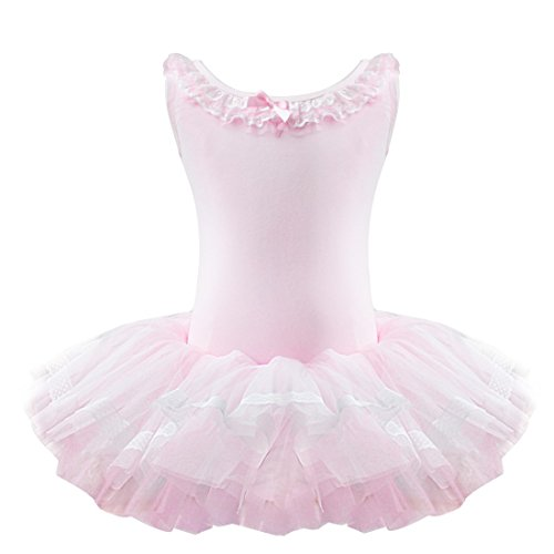 YiZYiF Girl's Child Party Ballet Costume Tutu Leotards Dance Skate Dress Outfit Pink 4-5