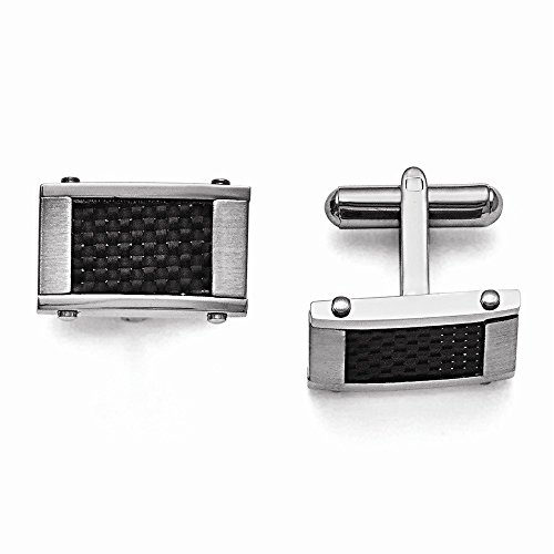 Stainless Steel Black Carbon Fiber Rectangle Cuff Links