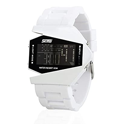 Military Watch Colorful Light Stealth Fighter Style Waterproof Digital Sport Wrist Watches White Nykbreve 13