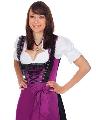 Midi Dirndl 3-tlg. violett schwarz mit passender Bluse und Schürze Gr. 32-60 thumbnail