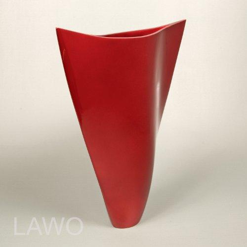 LAWO 102306 Vaso Design Laccato ELDA rosso Moderno Art Deco Vaso per Fiori Esclusivo Vaso di Legno