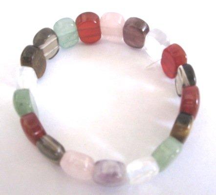 13mm Jade Multi Color Stretch Bracelet Wristband