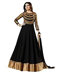 My online Shoppy Women's Georgette Unstitched Dress Material (My online Shoppy_119_Black_Free Size)