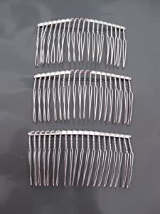 3 comb4 wire silver hair comb wedding bridal for Metal hair combs for crafts