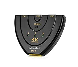 4K HDMI Switch, iMounTop™ 3x1 High Speed HDMI Switcher Supports 1080P 3D for HD TV