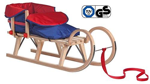 Impag® Hörnerschlitten Holzschlitten Rodelschlitten mit Zuggurt und Lehne inkl. Fußsack rot / blau 3 Steg 115 cm lang