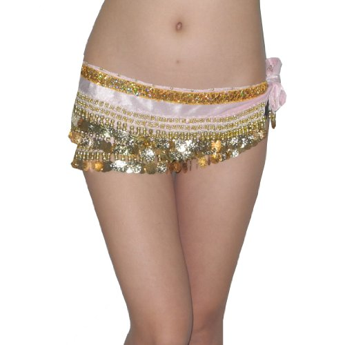 Ladies Sexy Exotic Belly Dance Sequins Beaded Hip Scarf with Coins