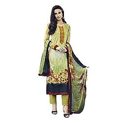 Like a diva JINAAM Petal Green Cotton Party Wear Salwar Kameez / Churidar Dress material