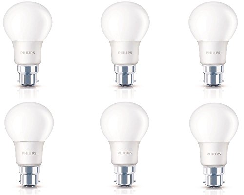 Philips 6W B22 LED bulb (Warm White, Pack of 6)