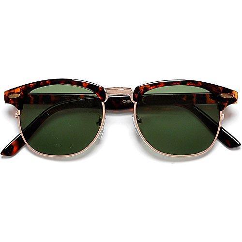 Vintage Half Frame Semi-Rimless Wayfer Style Classic Optical Rx Sunglasses (Tortoise/G-15)