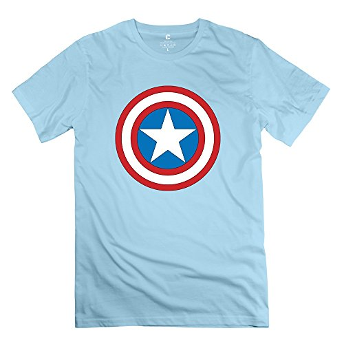Personalised Custom Men's Best Graphic T-shirt Captain America Logo SkyBlue