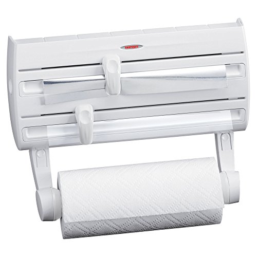 Leifheit Wall-Mount Paper Towel Holder with Plastic Wrap, Foil Dispenser and Spice Rack, White (Plastic Paper Towel Dispenser compare prices)