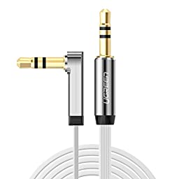 Ugreen 3.5mm Auxiliary Audio Jack to Jack cable 90 Degree Right Angle for Apple iPhone, iPod, iPad, Samsung,Smartphones & Tablets and Speakers,24K Gold Plated Male to Male (1.5FT, White)