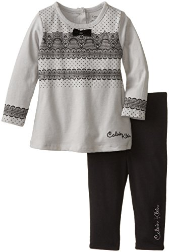 Calvin Klein Baby-Girls Infant Tunic With Black Leggings, Gray, 18 Months