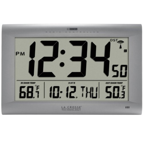 La Crosse Technology Atomic Digital Wall Clock with Indoor/Outdoor Temperature