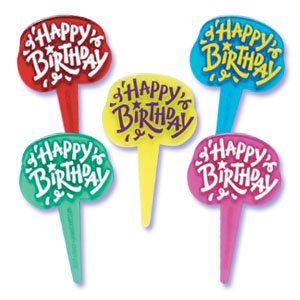 Oasis Supply Happy Birthday Jewel Cupcake/Cake Decorating Picks, 2-1/2-Inch, Assorted Colors, Set of 12 - 1