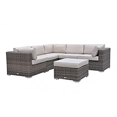 Radeway 6pc Modern Outdoor Patio Furniture Sets Wicker Outdoor Furniture Sectional Backyard Rattan Sofa Couch Set W/ Covers