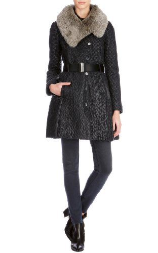 Mixed quilted coat with faux fur