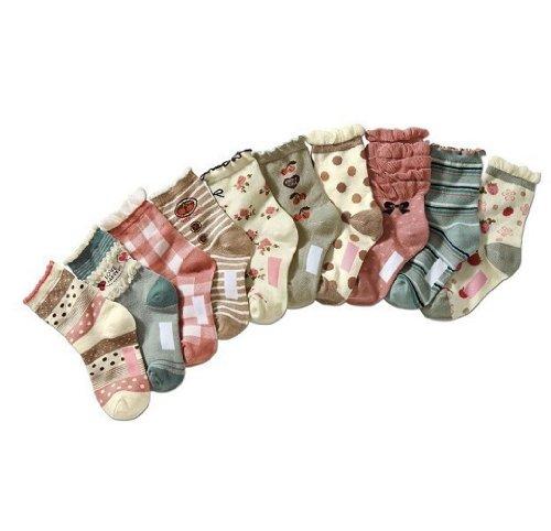 Deer Mum 6 Pairs Girl'S Stripe/Blocks/Dots Pupil Socks (Pack 6) front-135212