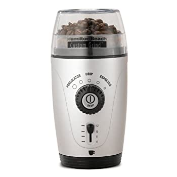 Hamilton Beach one touch coffee bean grinder . Hands free operation with five different automatic coffee flavor settings. Grinder chamber makes up to 12 -cups of coffee beans at a time. Internal cord storage & cleaning brush included. Removable & dis...