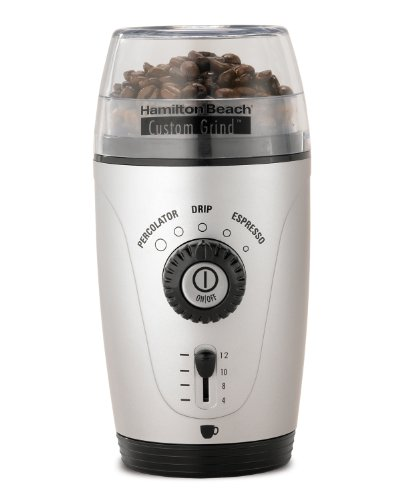 New Hamilton Beach 80365 Custom Grind Hands-Free Coffee Grinder, Platinum